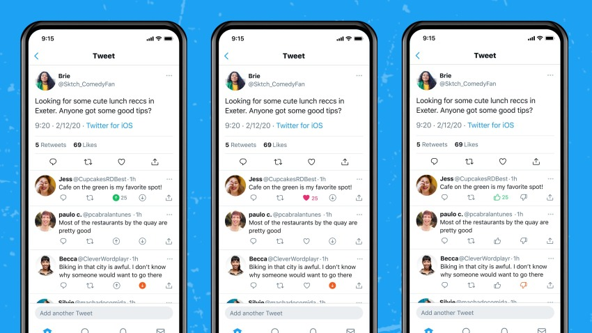 Twitter downvote feature